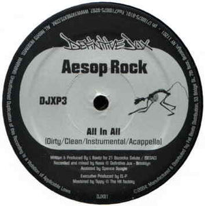 "Aesop Rock - All In All b/w Karniege - Make News, 12"" Vinyl - The Giant Peach"