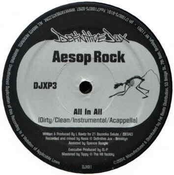 "Aesop Rock - All In All b/w Karniege - Make News, 12"" Vinyl"