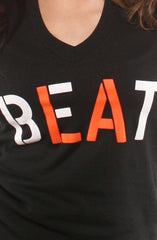 Adapt - Beat LA Women's V-Neck Shirt, Black - The Giant Peach