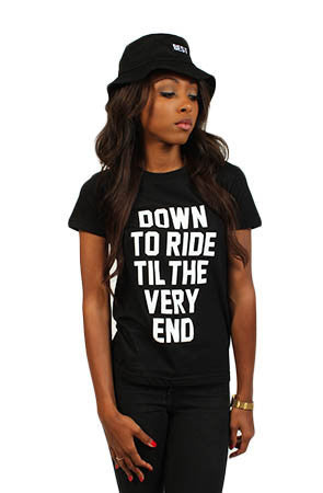 Adapt x Breezy Excursion - Down To Ride Women's Tee, Black - The Giant Peach - 1