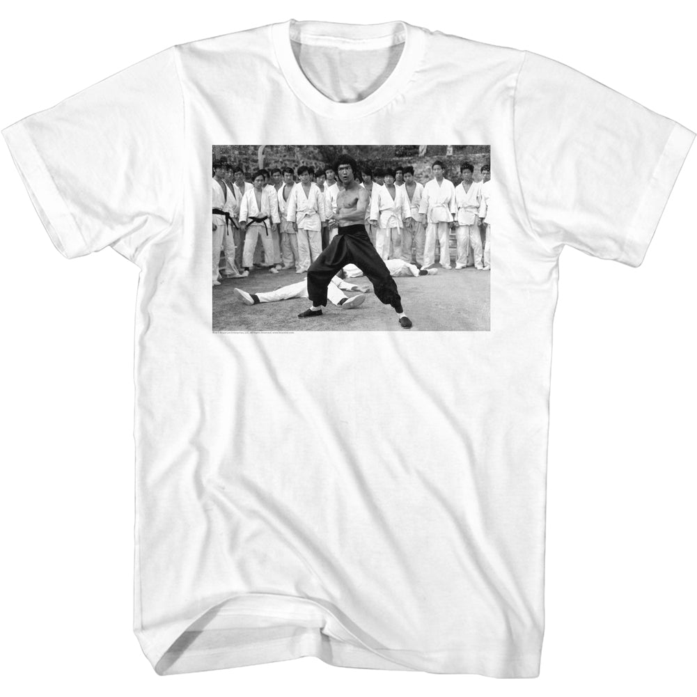 Bruce Lee - Black & White Power Stance Men's Shirt, White