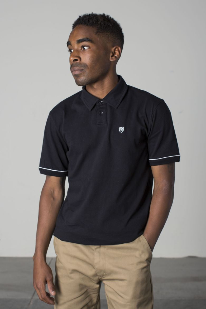 Brixton - Carlos Men's S/S Polo Knit, Black - The Giant Peach