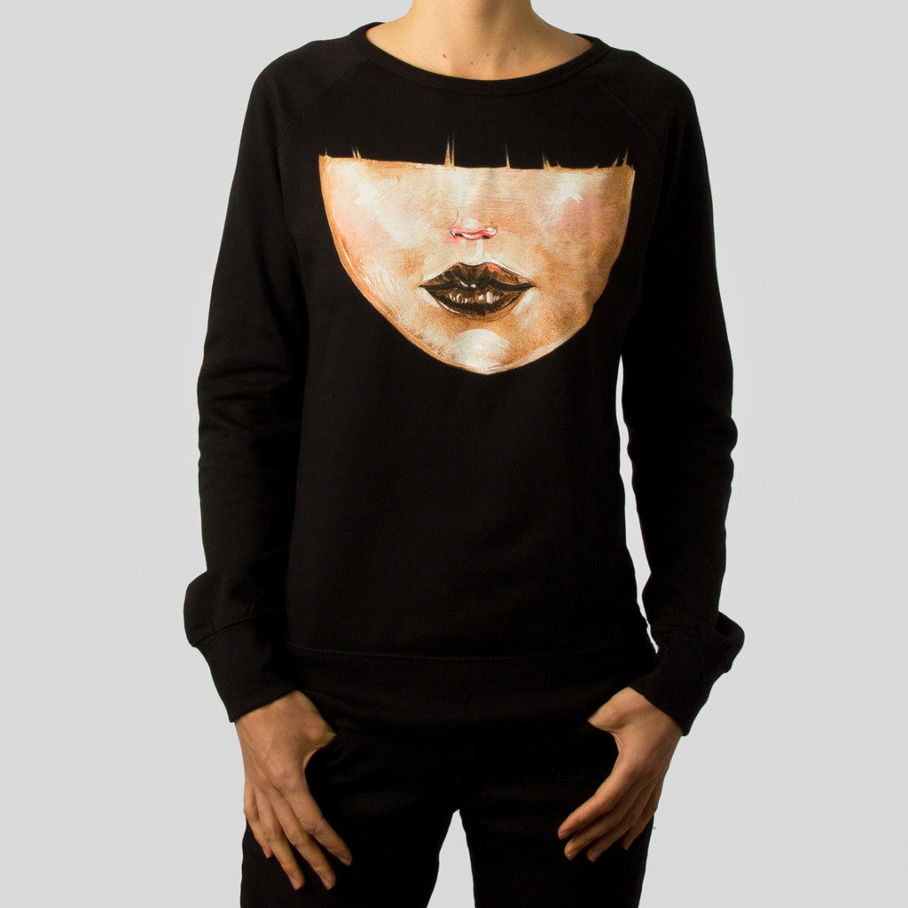 David Choe - Bangs Women's Crewneck, Black - The Giant Peach