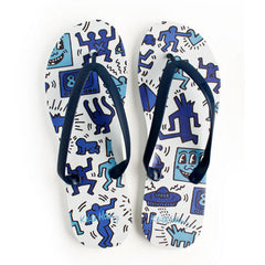 Tidal - Keith Haring Coloring Book Men's Flip Flops, Light Blue - The Giant Peach