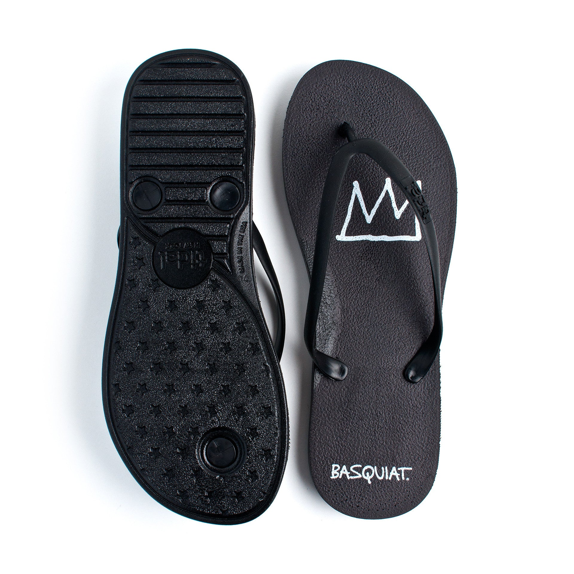 Tidal - Jean-Michel Basquiat Crown Women's Flip Flops, Black/Black - The Giant Peach - 2