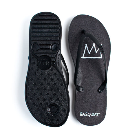 Tidal - Jean-Michel Basquiat Crown Women's Flip Flops, Black/Black