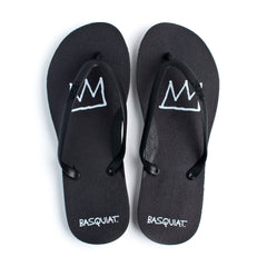 Tidal - Jean-Michel Basquiat Crown Women's Flip Flops, Black/Black - The Giant Peach