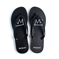 Tidal - Jean-Michel Basquiat Crown Men's Flip Flops, Black/Black - The Giant Peach