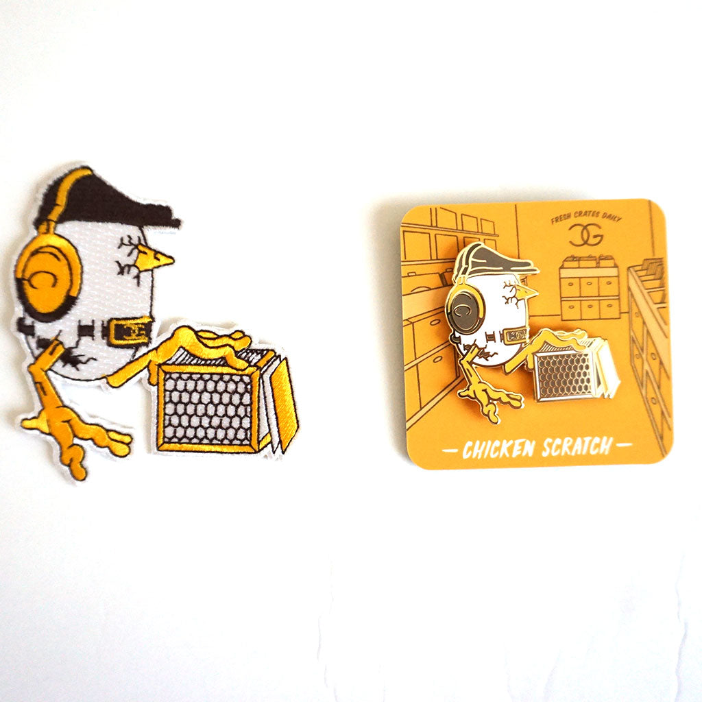 DJ Chicken George Chicken Scratch pin and patch set