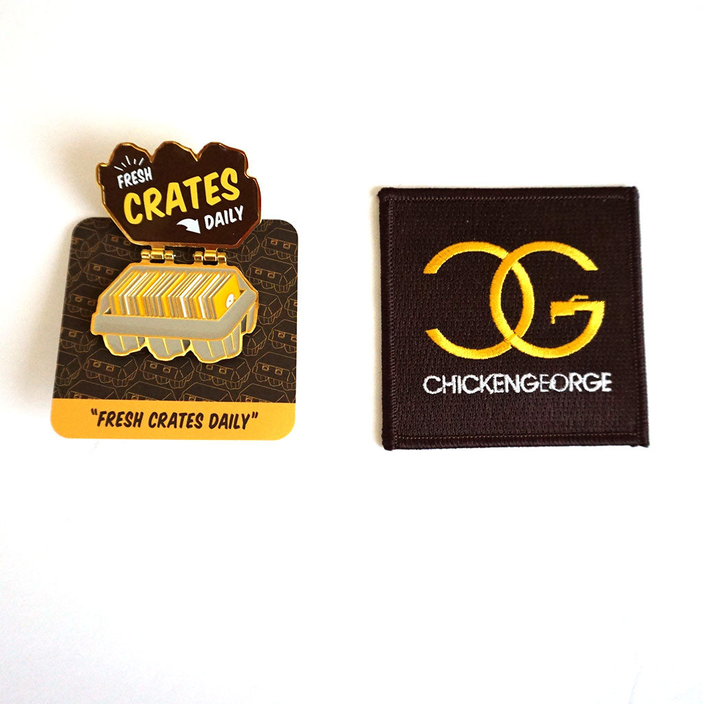 DJ Chicken George Fresh Crates Daily pin and patch set