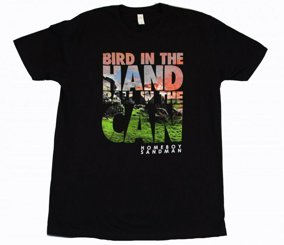 Homeboy Sandman - Bird in the Hand Men's Tee, Black - The Giant Peach
