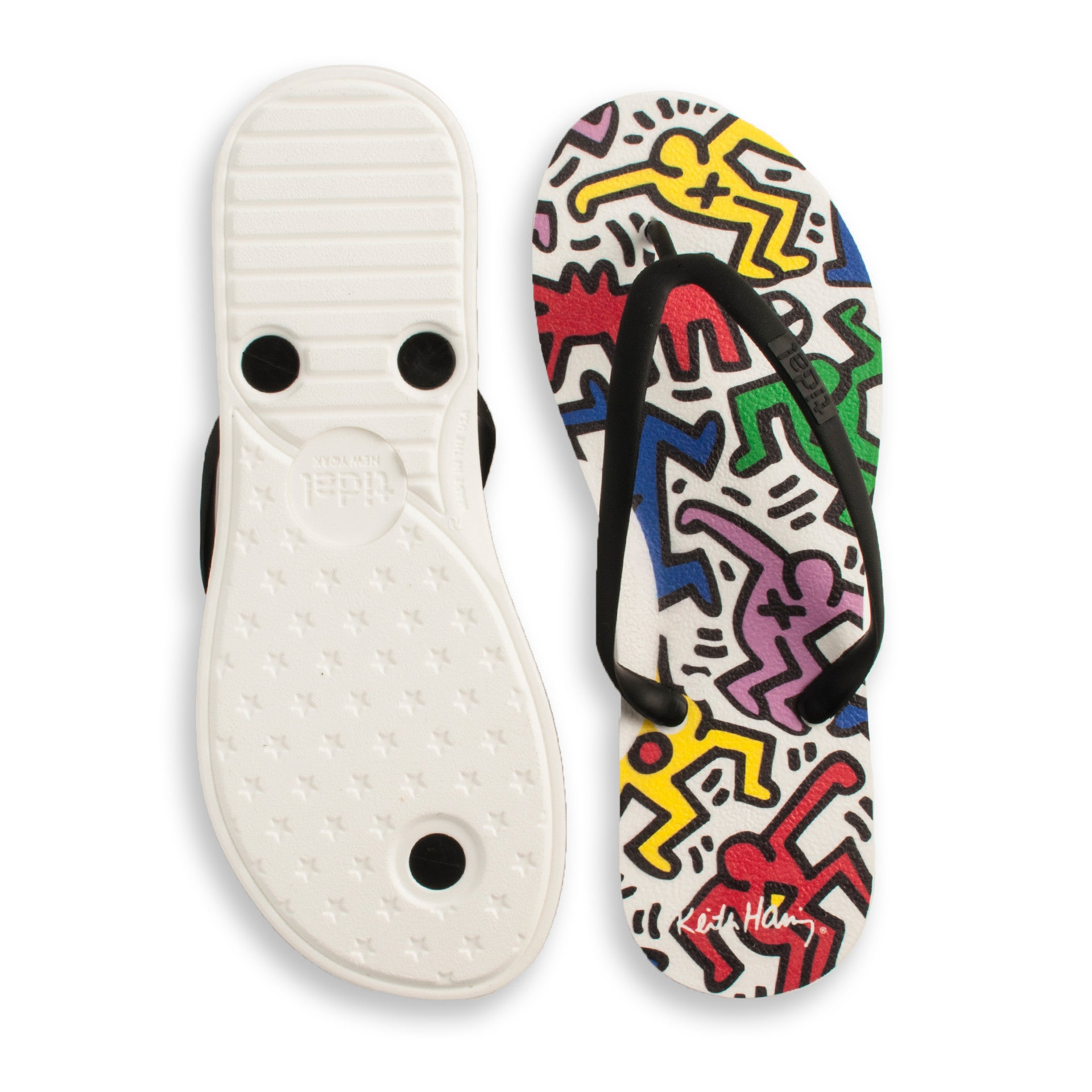 Tidal - Keith Haring Dancers Women's Flip Flops, White/Black - The Giant Peach - 2