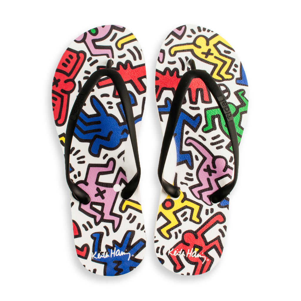 Tidal - Keith Haring Dancers Women's Flip Flops, White/Black - The Giant Peach