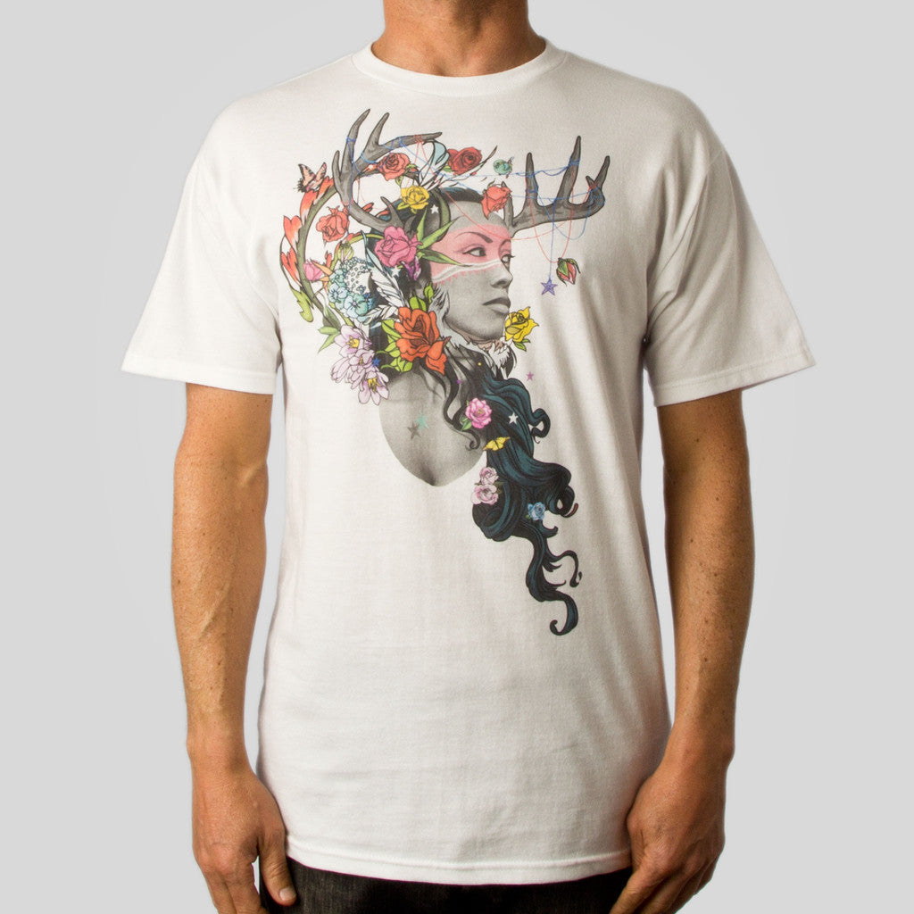 Twelve Grain by Sam Flores - Dier Huntress Men's Tee, White - The Giant Peach
