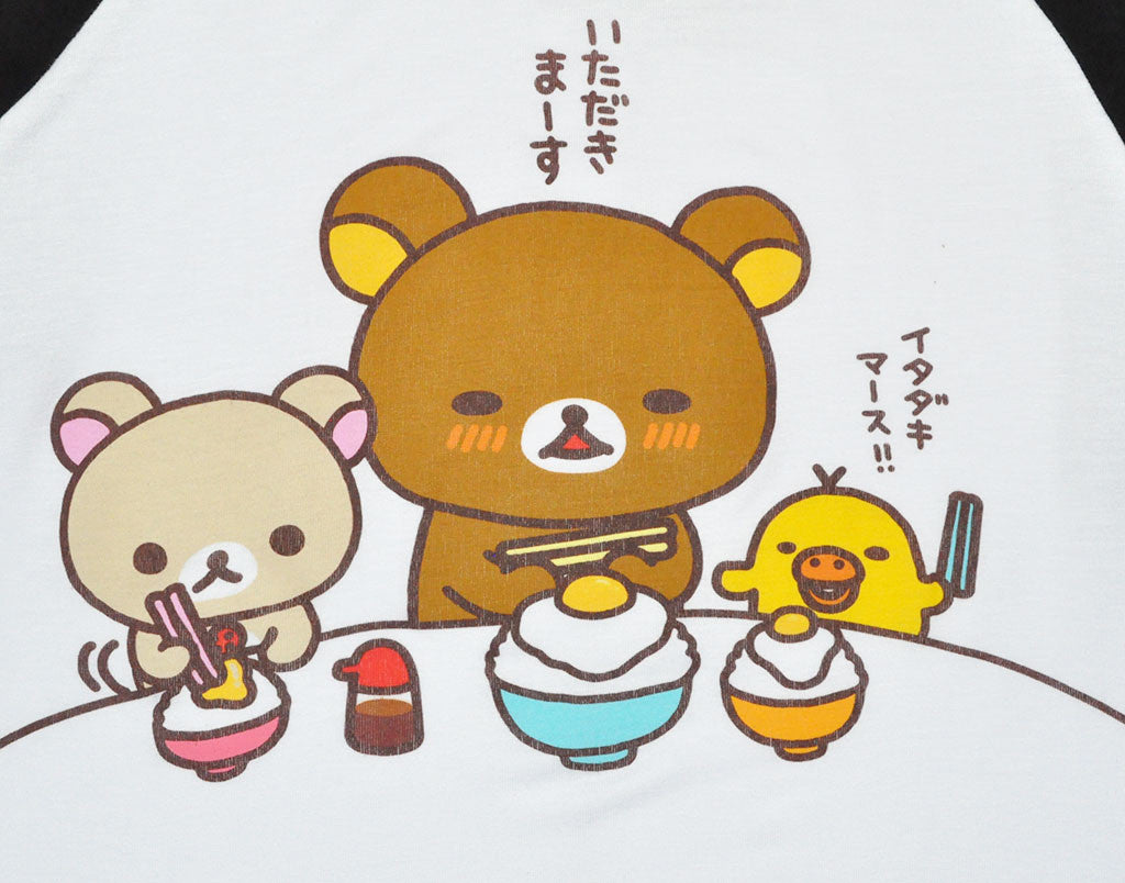 Rilakkuma Dinner Time Junior's Raglan, White/Black - The Giant Peach