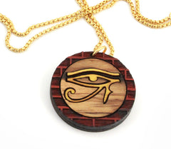 GoodWood NYC - Eye of Ra Necklace, Gold Blood Zebra Yellow - The Giant Peach