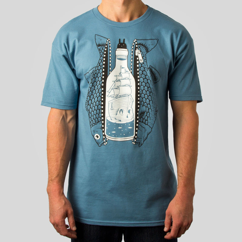 SuperFishal (Jeremy Fish) - Bottled Up Men's Shirt, Slate - The Giant Peach