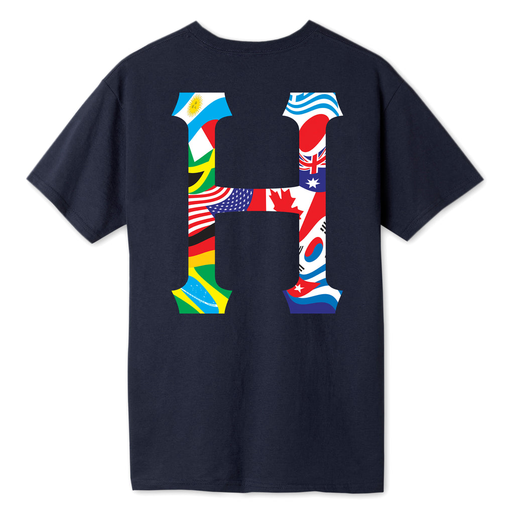 HUF - Global Trip Classic H Men's Tee, French Navy