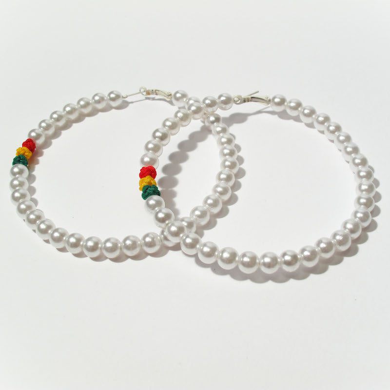 Trixy Starr - Classy Ras Hoop Earrings, pearly white - The Giant Peach