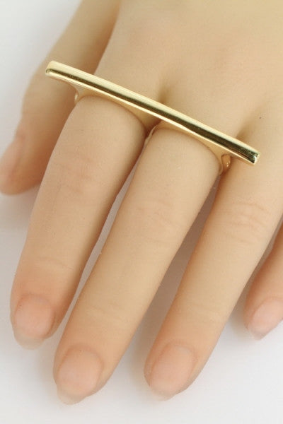 Walk the Line Double Finger Ring, Gold - The Giant Peach