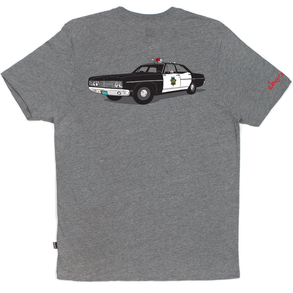 HUF x Chocolate SF Cop Car Men's Tee, Grey Heather - The Giant Peach - 1
