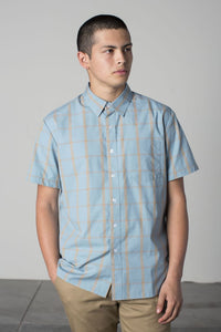 Brixton - Hutton Men's S/S Woven Shirt, Luau Blue - The Giant Peach