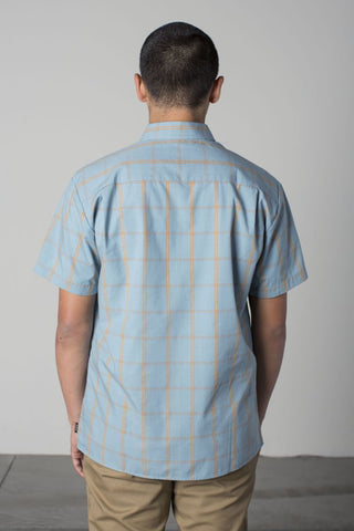 Brixton - Hutton Men's S/S Woven Shirt, Luau Blue