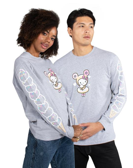 tokidoki x Hello Kitty - Hello Scoops L/S Unisex Tee, Light Heather Grey