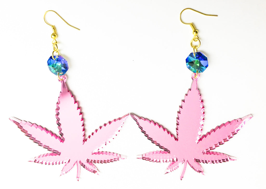 TRIXY STARR - Irie Weed Earrings, Pink - The Giant Peach