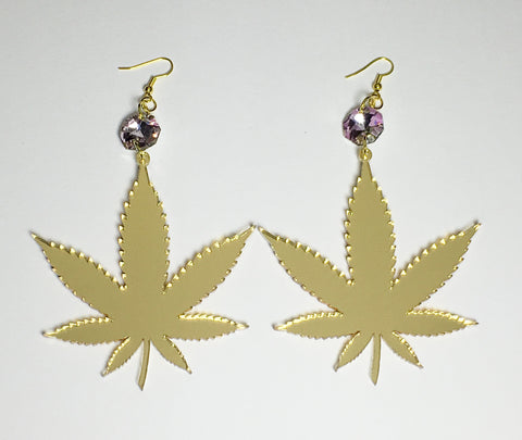 TRIXY STARR - Irie Weed earrings, Gold