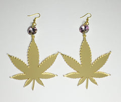 TRIXY STARR - Irie Weed earrings, Gold - The Giant Peach