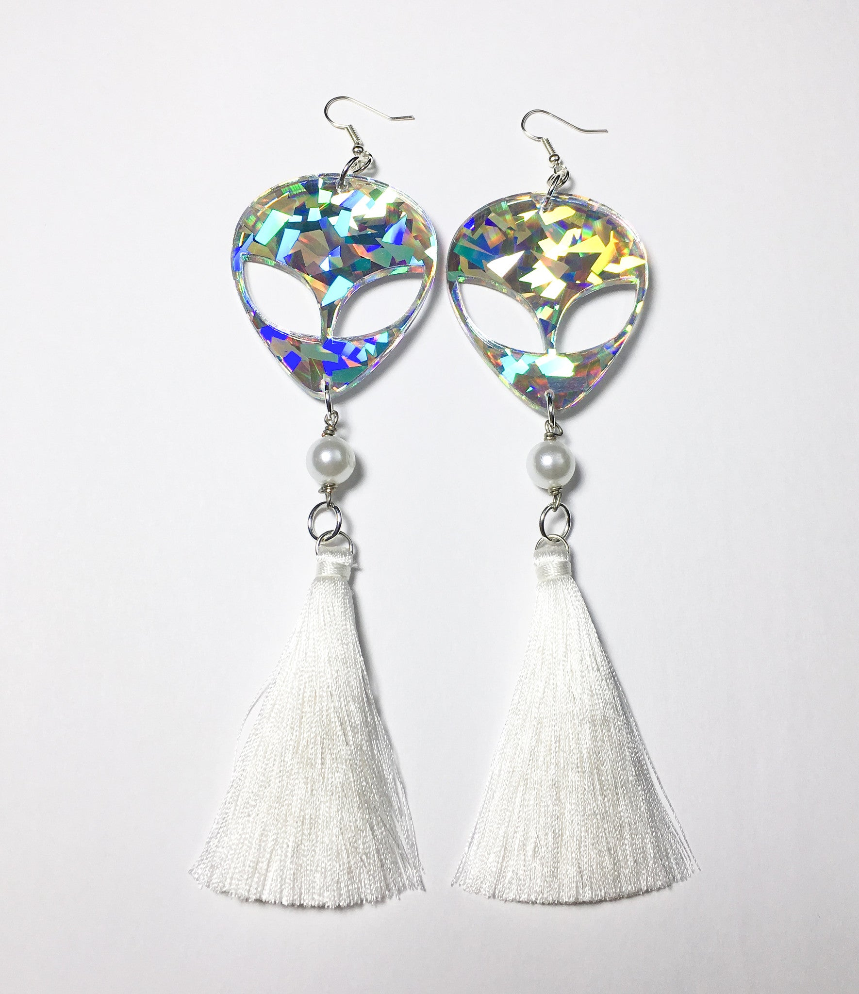 TRIXY STARR - Alien Tassel Earrings, Holographic - The Giant Peach