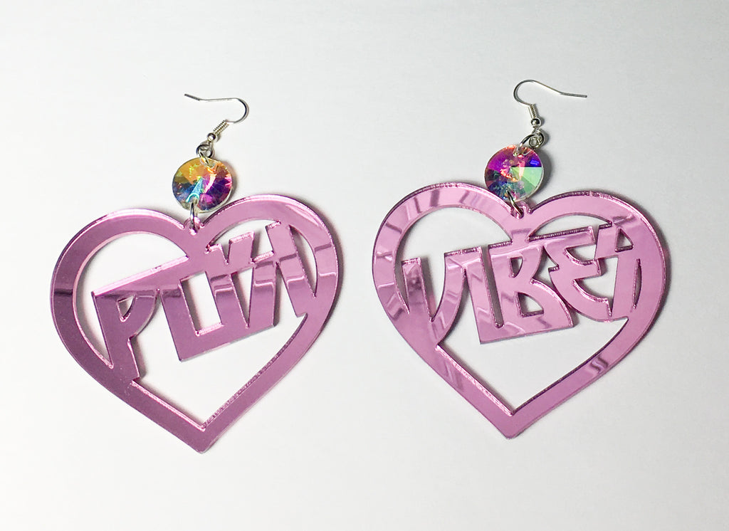 TRIXY STARR - Posi Vibes Earrings, Pink - The Giant Peach