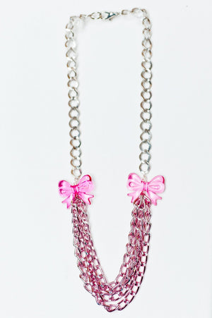 TRiXY STARR - Jaime Necklace, Pink/Silver - The Giant Peach