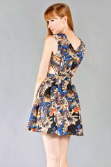 In The Garden V-Neck Dress, Black and Blue - The Giant Peach - 2