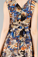 In The Garden V-Neck Dress, Black and Blue - The Giant Peach
