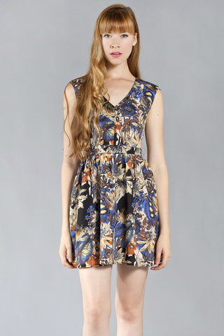 In The Garden V-Neck Dress, Black and Blue
