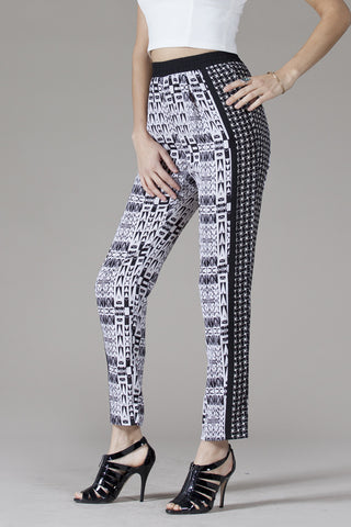 Mezcla Women's Harem Pants, Black and White