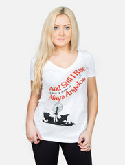 Out Of Print - And Still I Rise Women's Shirt, White - The Giant Peach