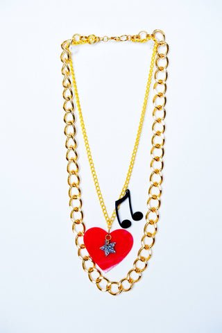 TRiXY STARR - London Necklace, Gold/Red/Black/Yellow