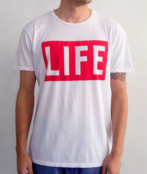 Altru Apparel - Life Logo Men's Tee, Wunder White - The Giant Peach