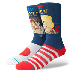 Stance x Street Fighter II - RYU vs KEN Men's Socks, Navy - The Giant Peach