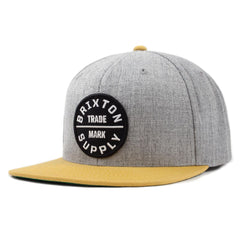 Brixton - Oath III Men's Snapback Hat, Heather Grey/Gold - The Giant Peach