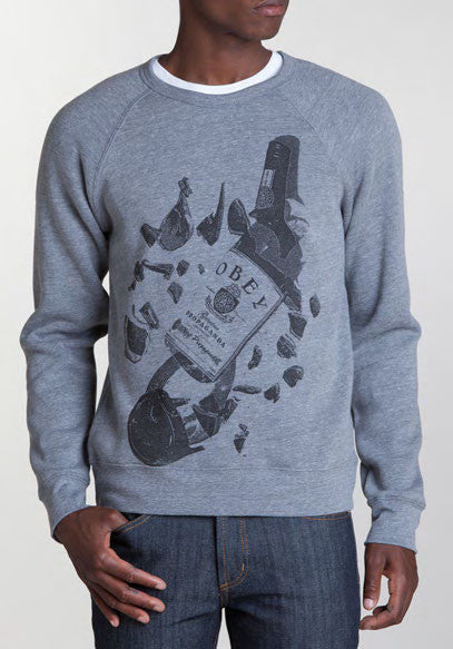 OBEY - Irish Whiskey Crewneck Sweatshirt, Heather Grey - The Giant Peach
