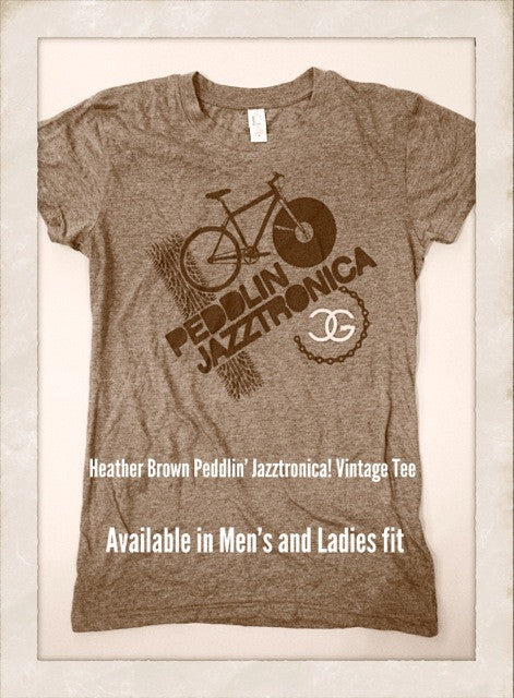 DJ Chicken George - Peddlin Jazztronica Women's Shirt, Heather Brown - The Giant Peach