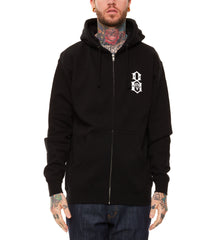 REBEL8 - Standard Issue Logo Men's Zip Hoodie, Black - The Giant Peach