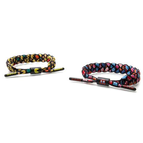 Rastaclat - Pac-Man Shoelace Bracelet 2 Pack, Black/Yellow/Red/Pink