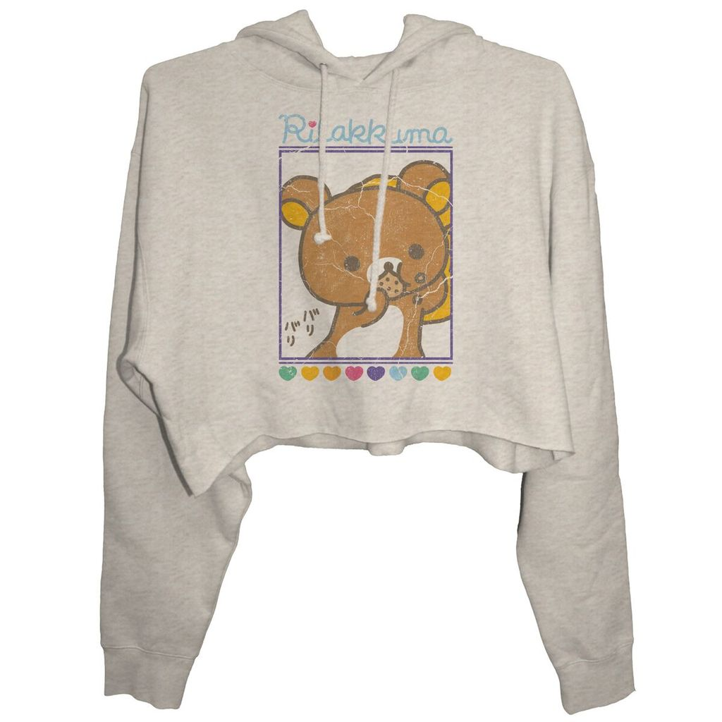 Rilakkuma Cookie Close Up Junior's Crop Hoodie, Heather Oatmeal - The Giant Peach
