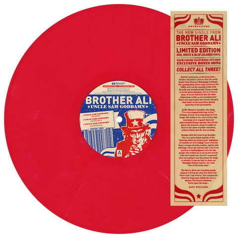 "Brother Ali ‎– Uncle Sam Goddamn / No Alibis, 12"" Red Vinyl"