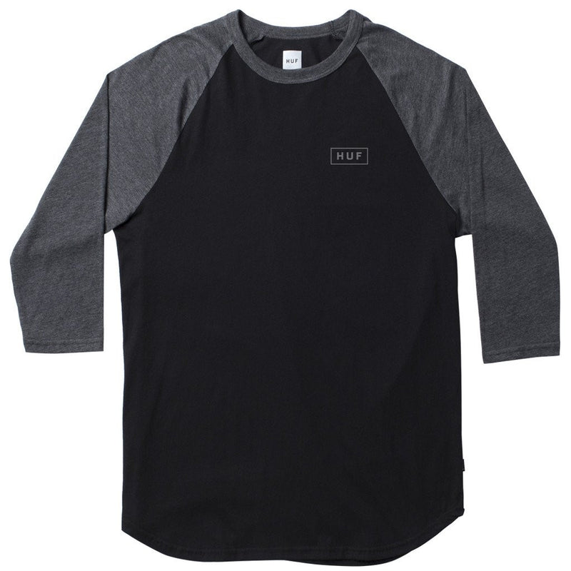 HUF - Reflective Bar Logo Men's Raglan, Black/Charcoal Heather - The Giant Peach